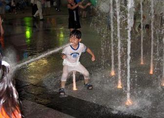 China boy likes his water