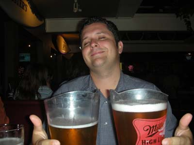 Dave Edmondson with his jugs of beer