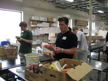 Aaron Bulkley volunteering at the Central Texas Food Bank