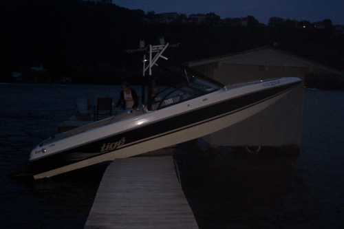 My Tige up on a dock on Lake Austin